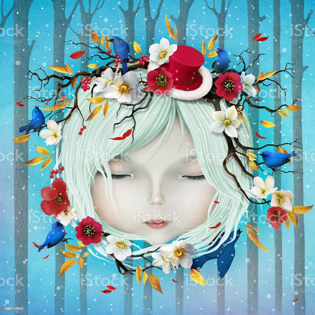 Winter girl vector art illustration