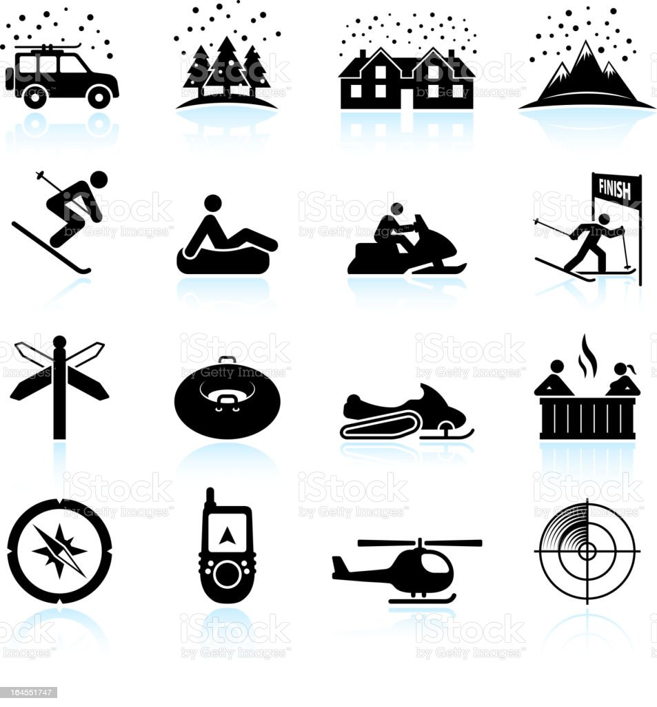 Winter holiday break black and white vector icon set royalty-free stock vector art