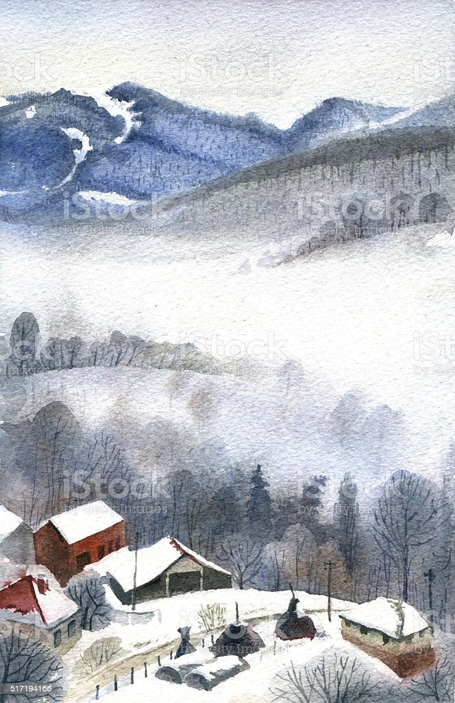 Winter in mountains, watercolor landscape vector art illustration