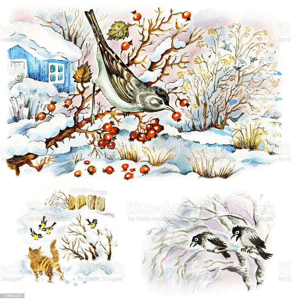 Winter in the garden royalty-free stock vector art