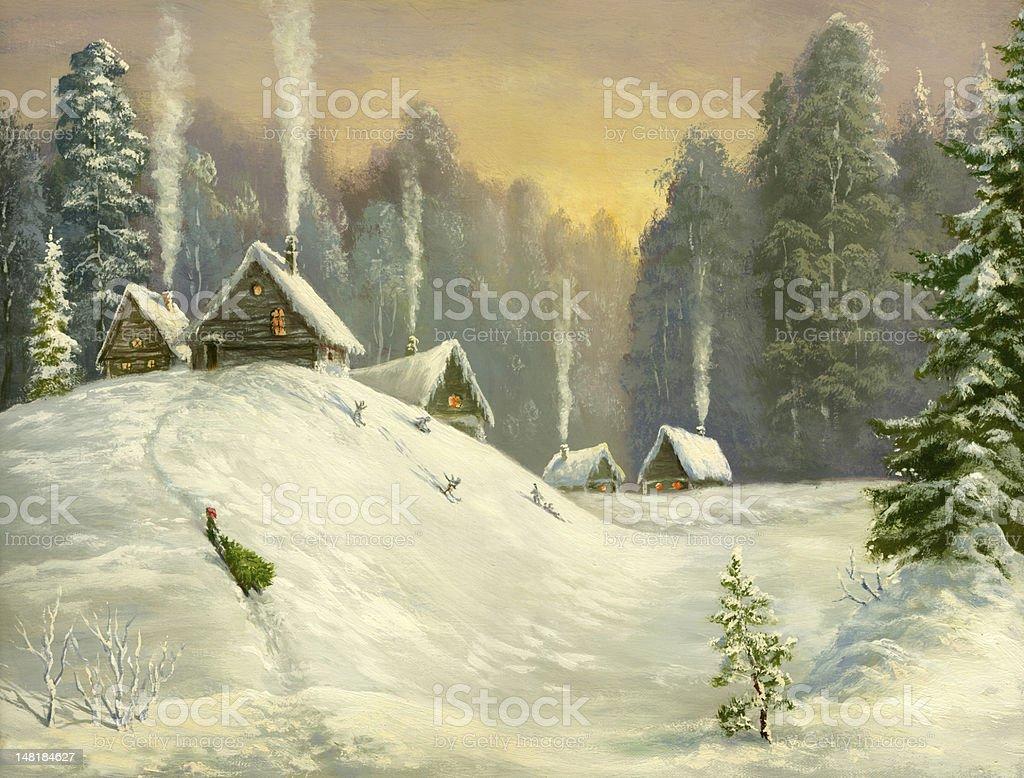 Winter land vector art illustration