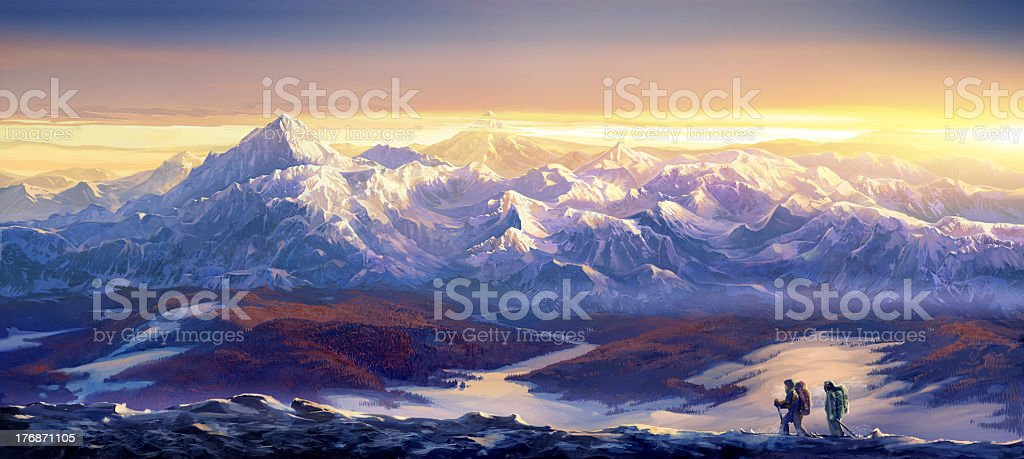 Winter landscape and skiers - the tourists vector art illustration