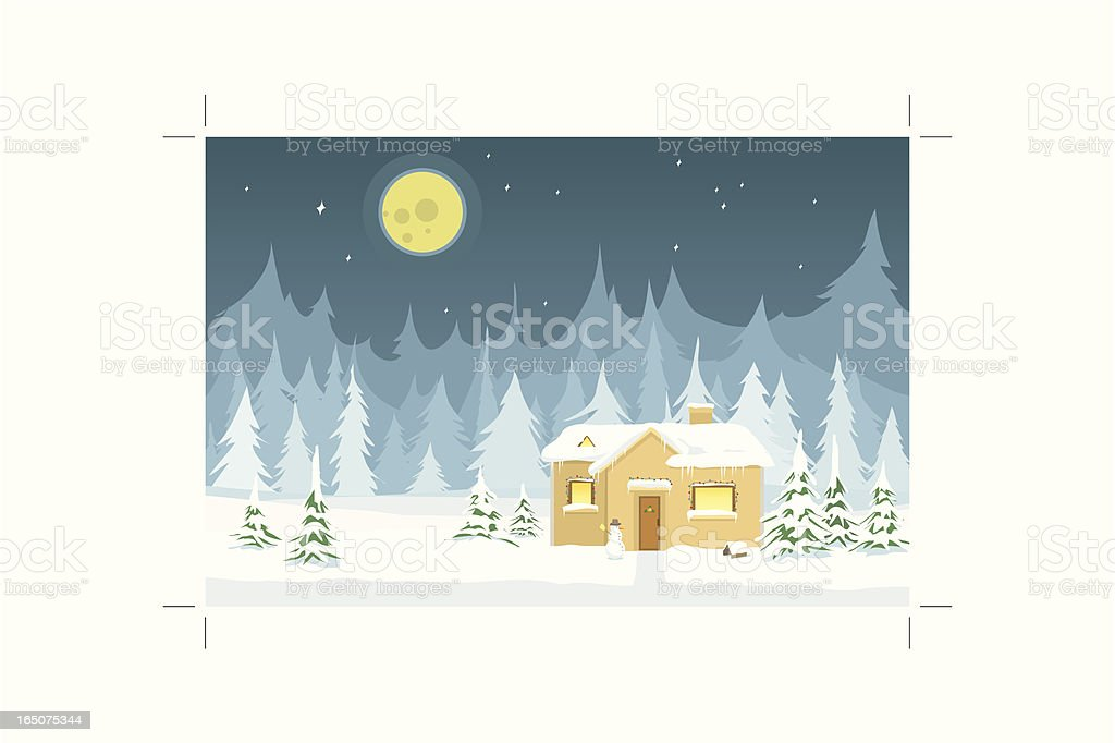 Winter Landscape with House and Trees royalty-free stock vector art