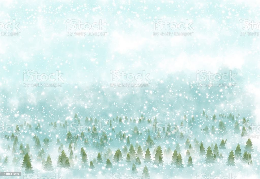 Winter landscape with snowy background vector art illustration