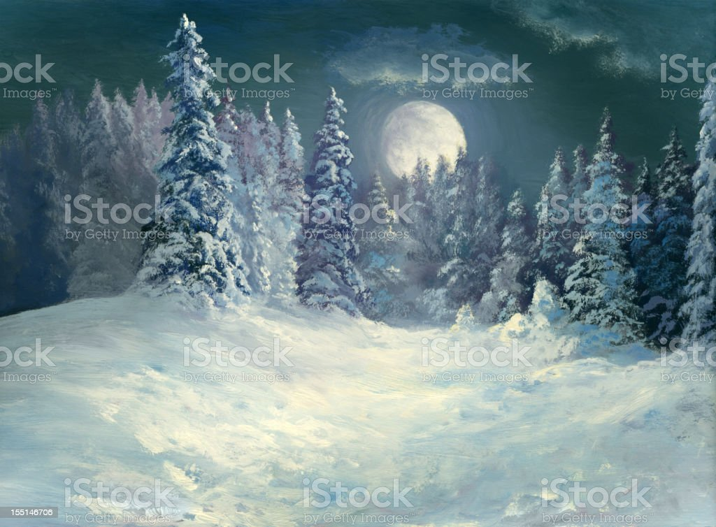 Winter Night Forest vector art illustration