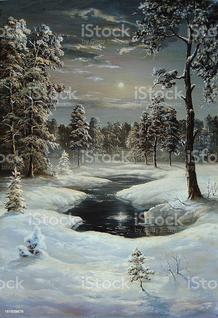Winter night royalty-free stock vector art