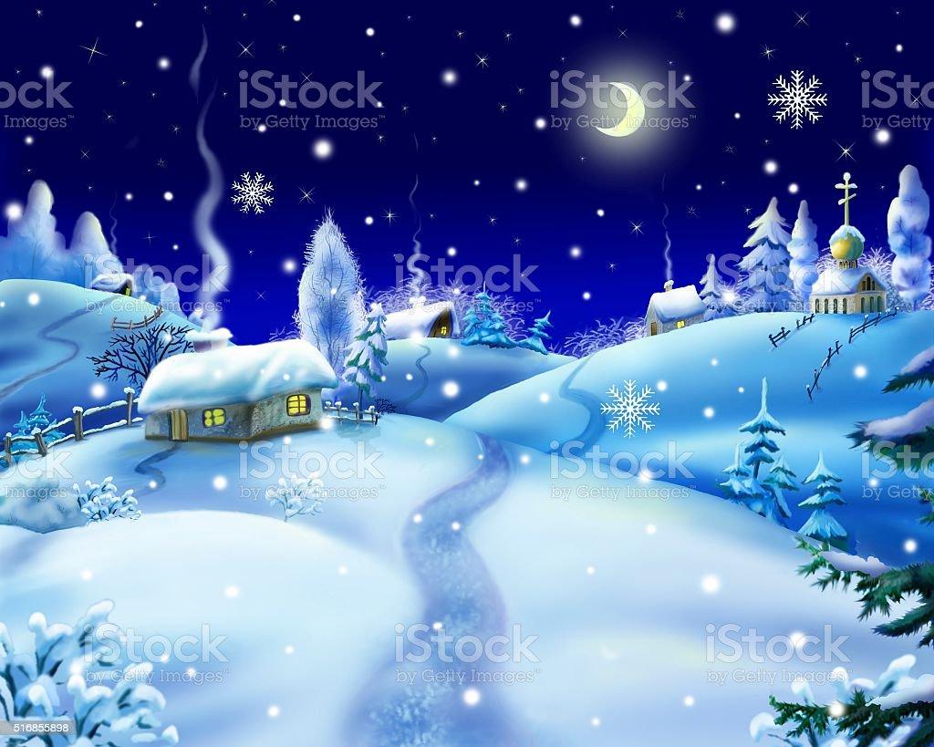 Winter Night in a Village vector art illustration