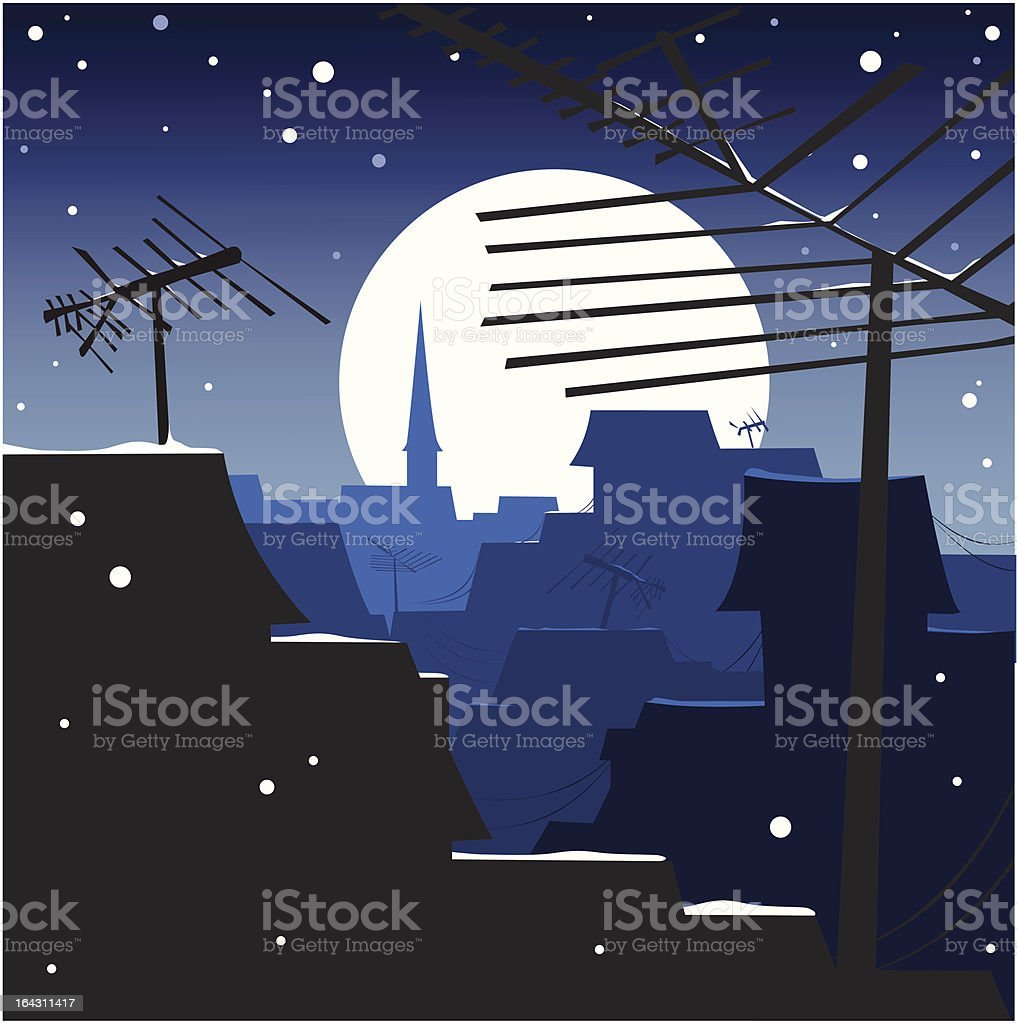 winter night moonlit rooftops with antennas royalty-free stock vector art