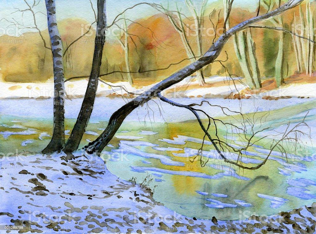 winter pond vector art illustration