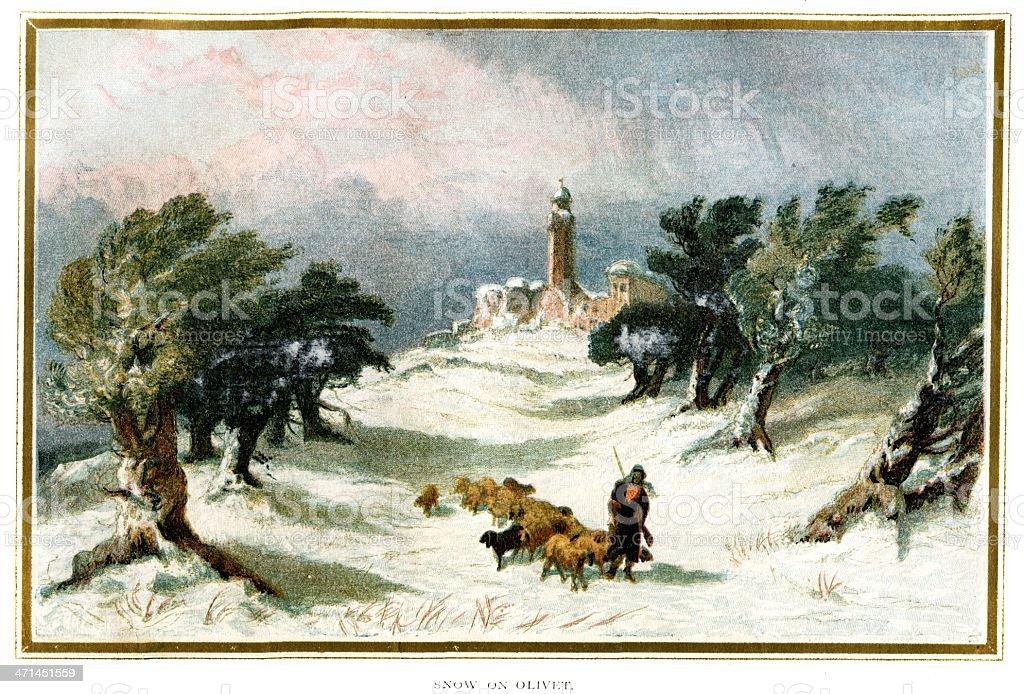 "Winter ""Snow on Olivet"" Jerusalem  from 1880 journal royalty-free stock vector art"