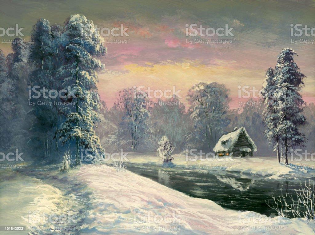 winter river royalty-free stock vector art