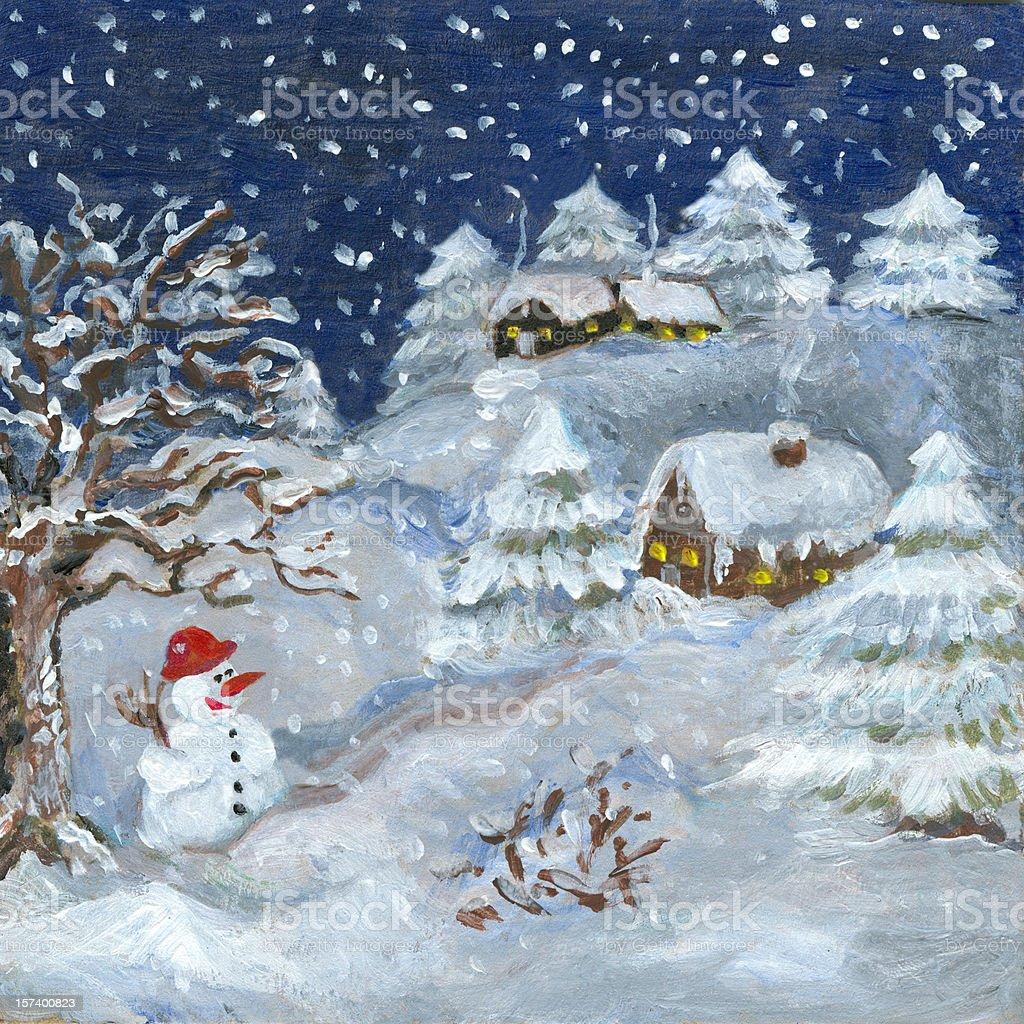 Stille Nacht mit Schneemann Winter Lizenzfreies vektor illustration