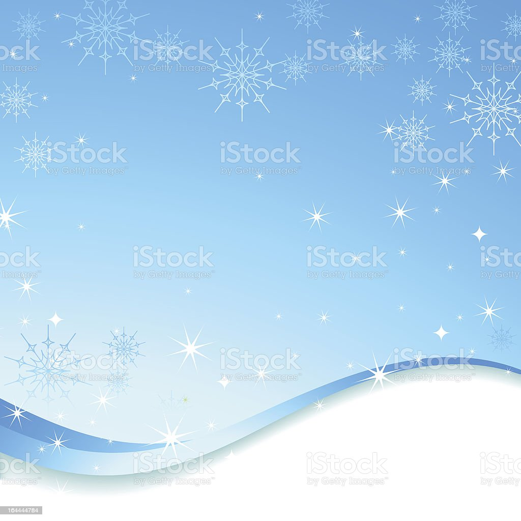 Winter snowflakes and abstract waves frame composition. vector art illustration