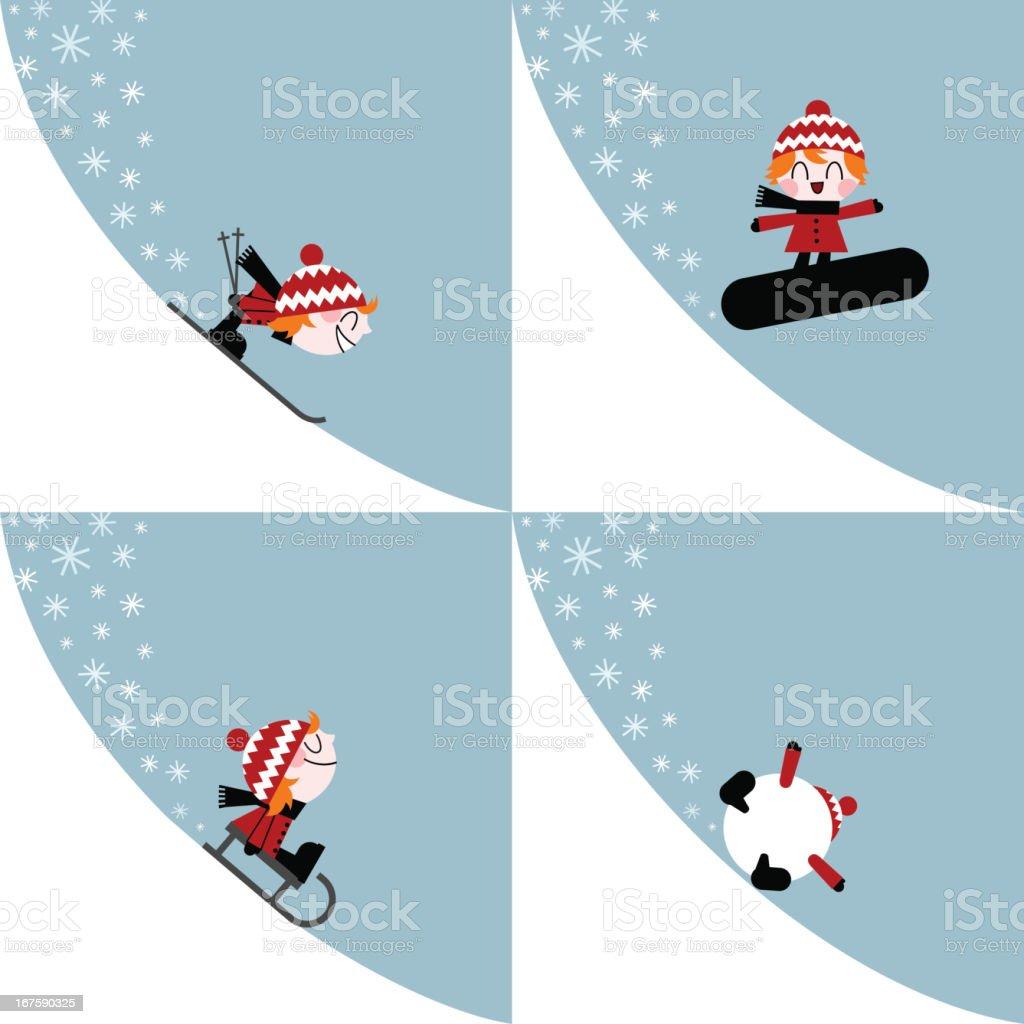 winter sports kid ski snowboard slide illustration vector vector art illustration