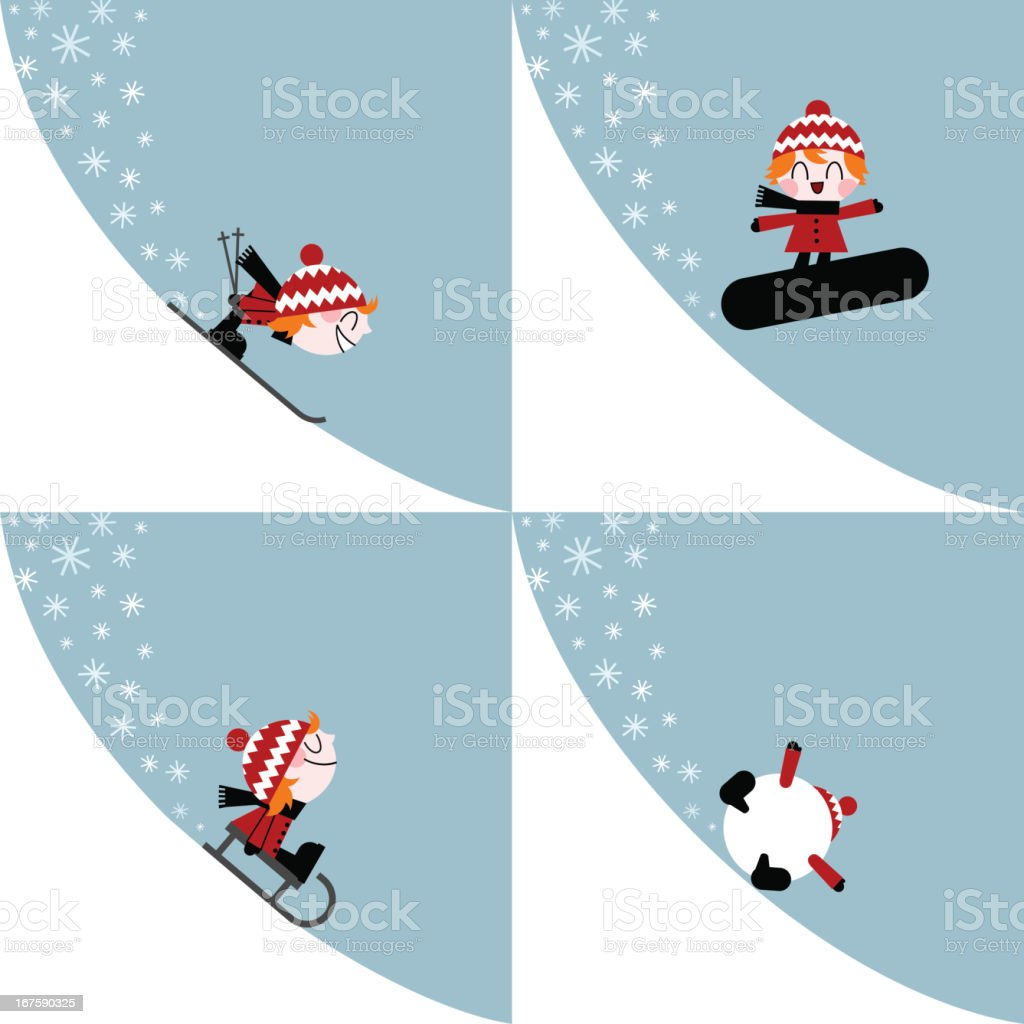 winter sports kid ski snowboard slide illustration vector vector art illustration