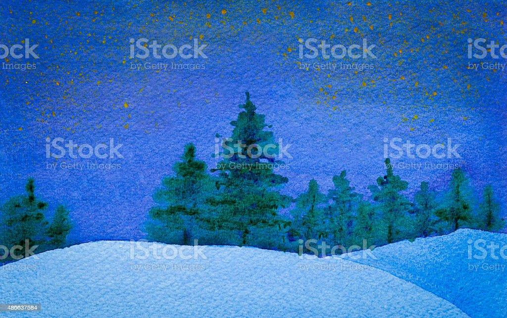Winter starry night landscape. vector art illustration