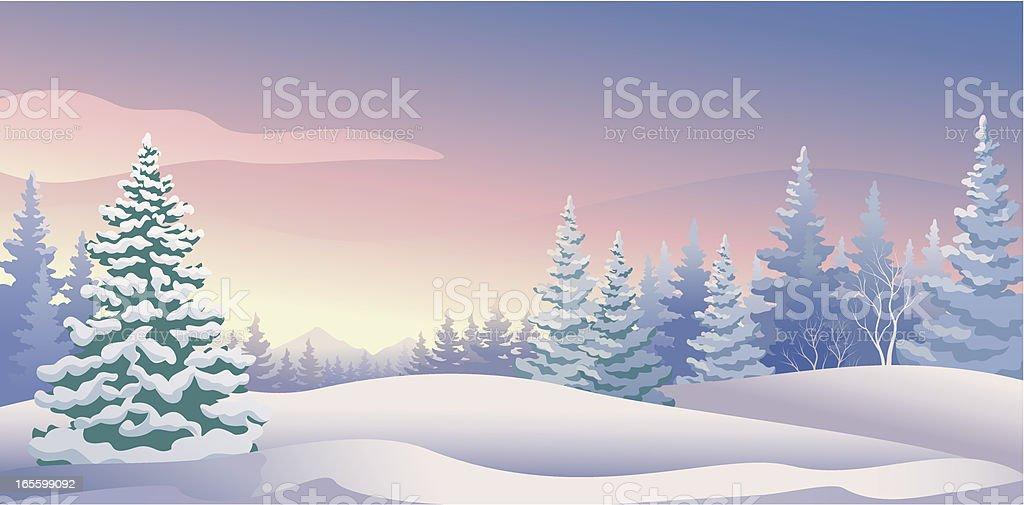 Winter sunrise panoramic vector art illustration