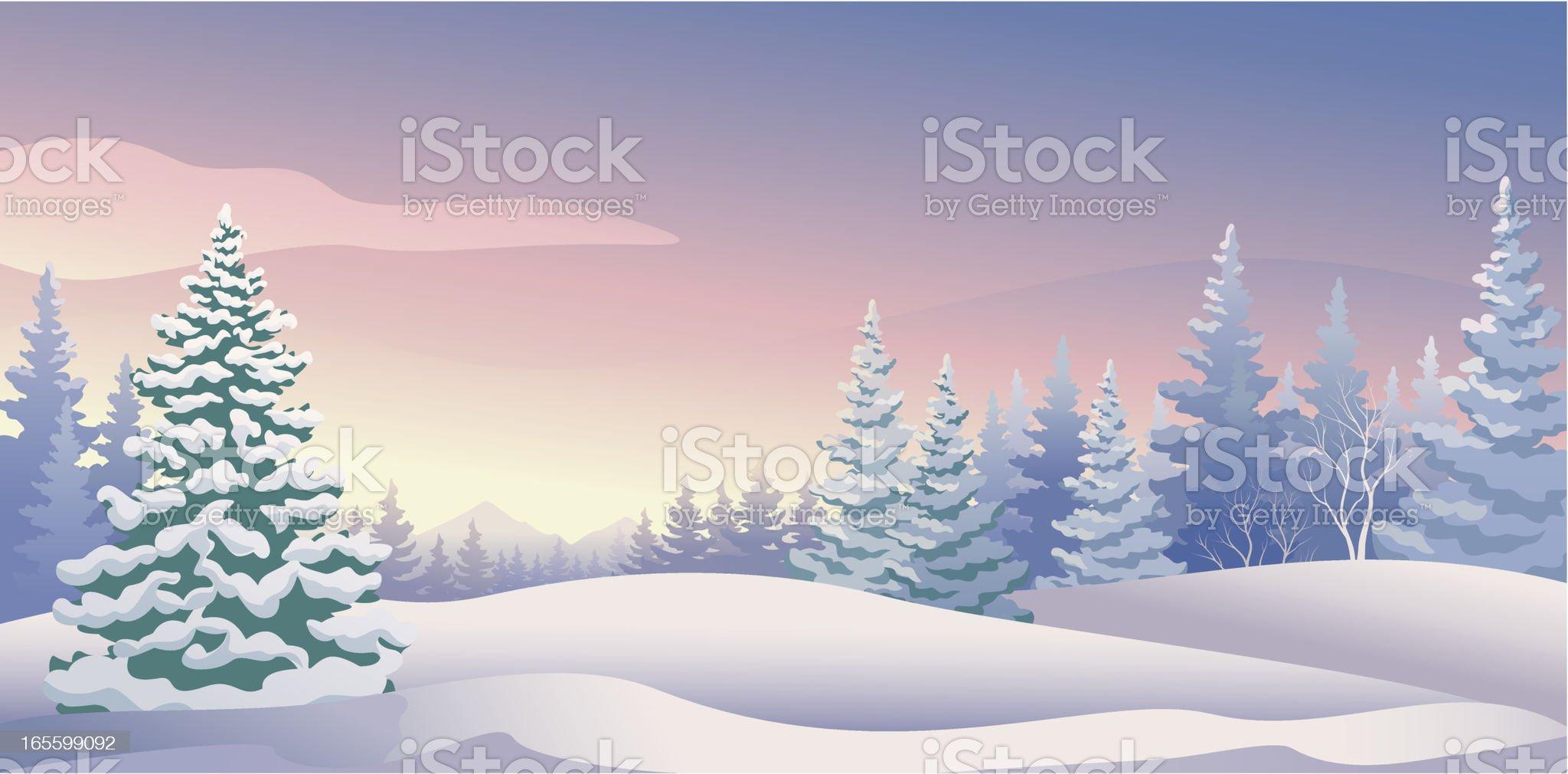 Winter sunrise panoramic royalty-free stock vector art