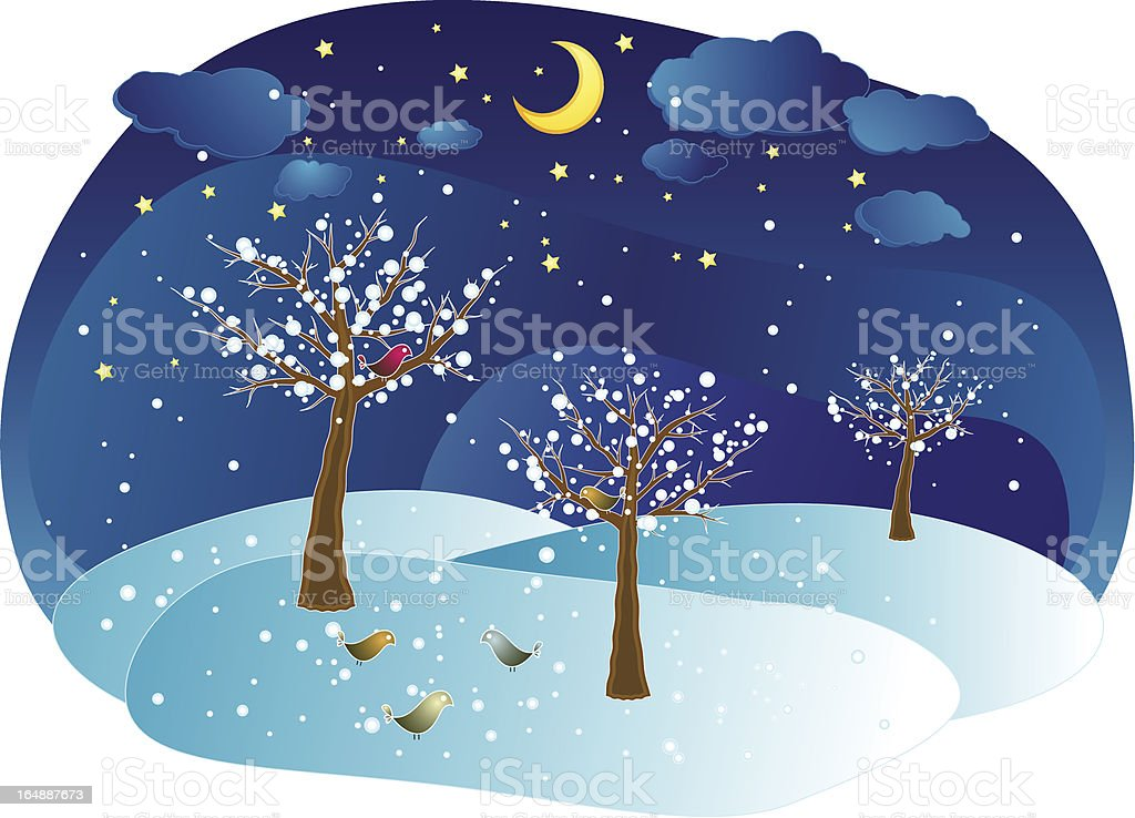 winter trees in the night - vector royalty-free stock vector art