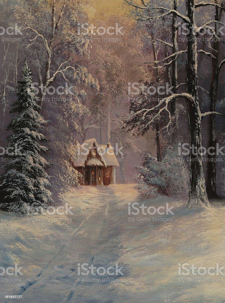 Winter twilight vector art illustration