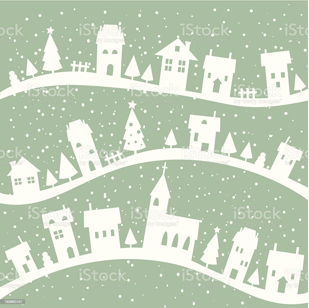 Winter village christmas background royalty-free stock vector art