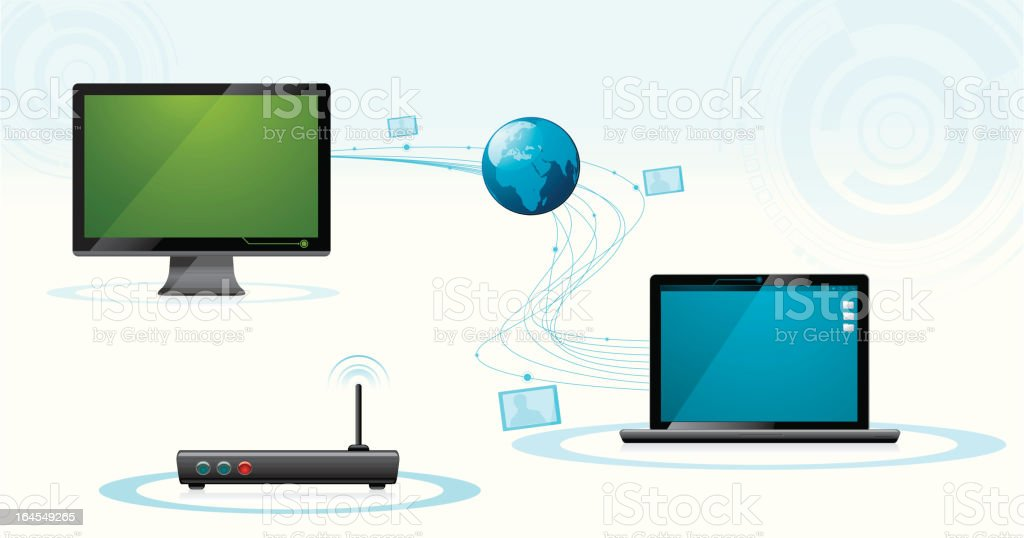 Wireless connection file sharing royalty-free stock vector art