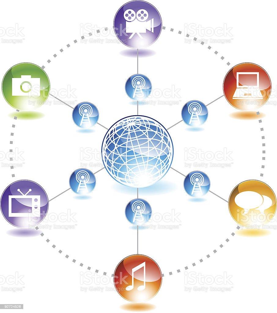 Wireless Media Network royalty-free stock vector art