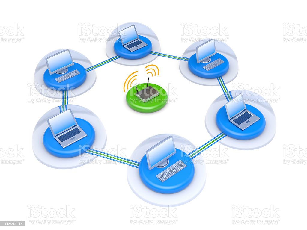 Wireless network with firewall royalty-free stock vector art