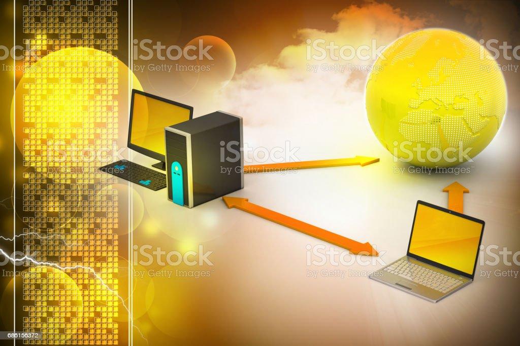 Wireless networking system vector art illustration