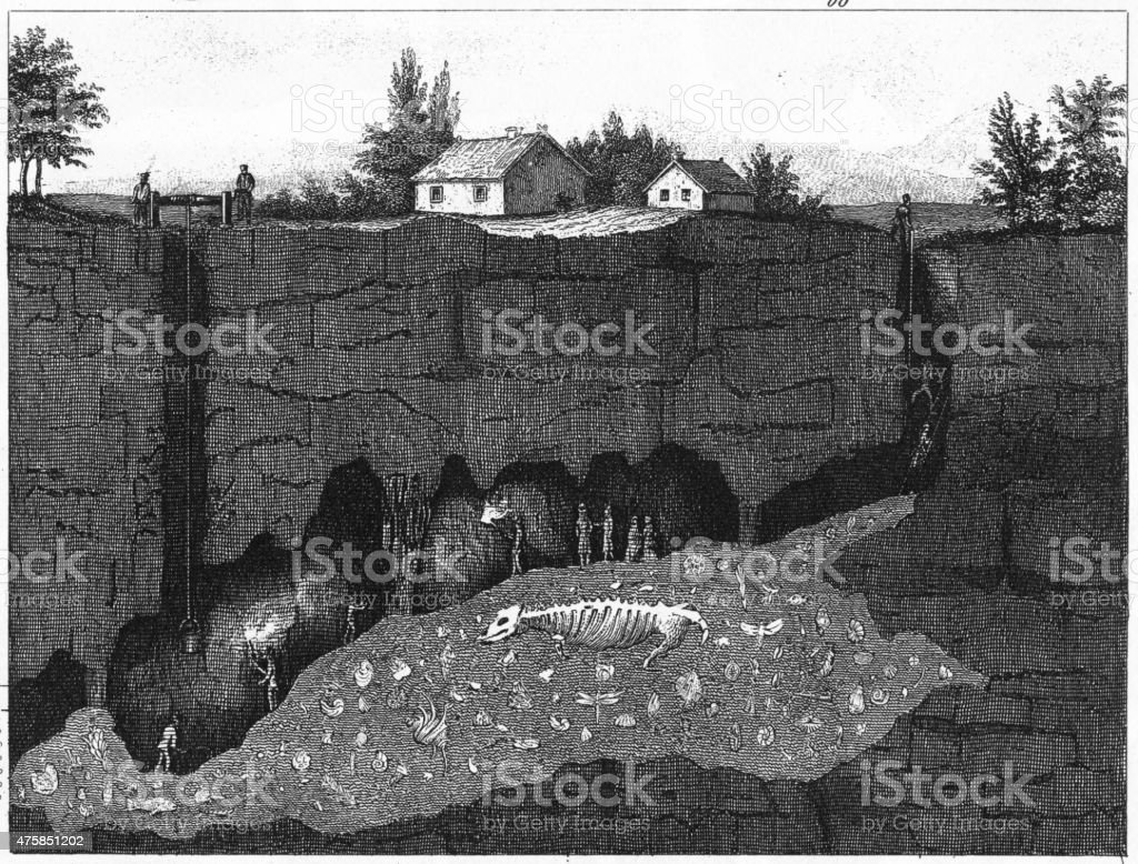 Wirksworth Cave Cross Section Engraving stock photo