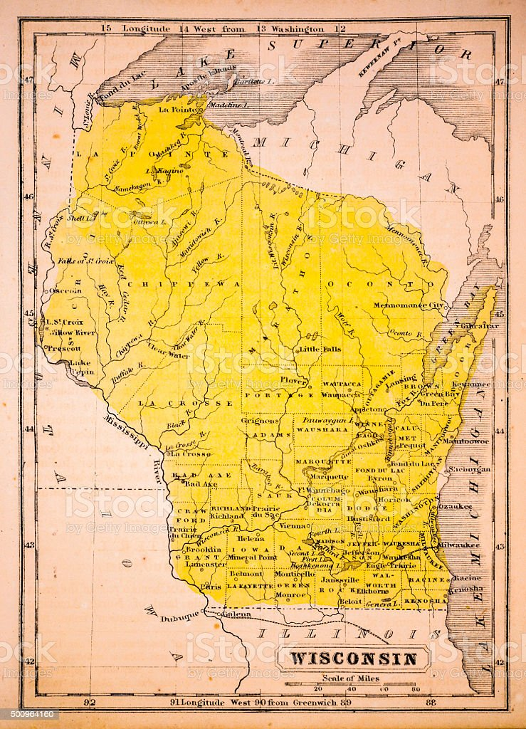 Wisconsin 1852 Map vector art illustration