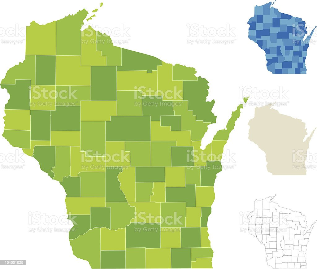 Wisconsin County Map vector art illustration