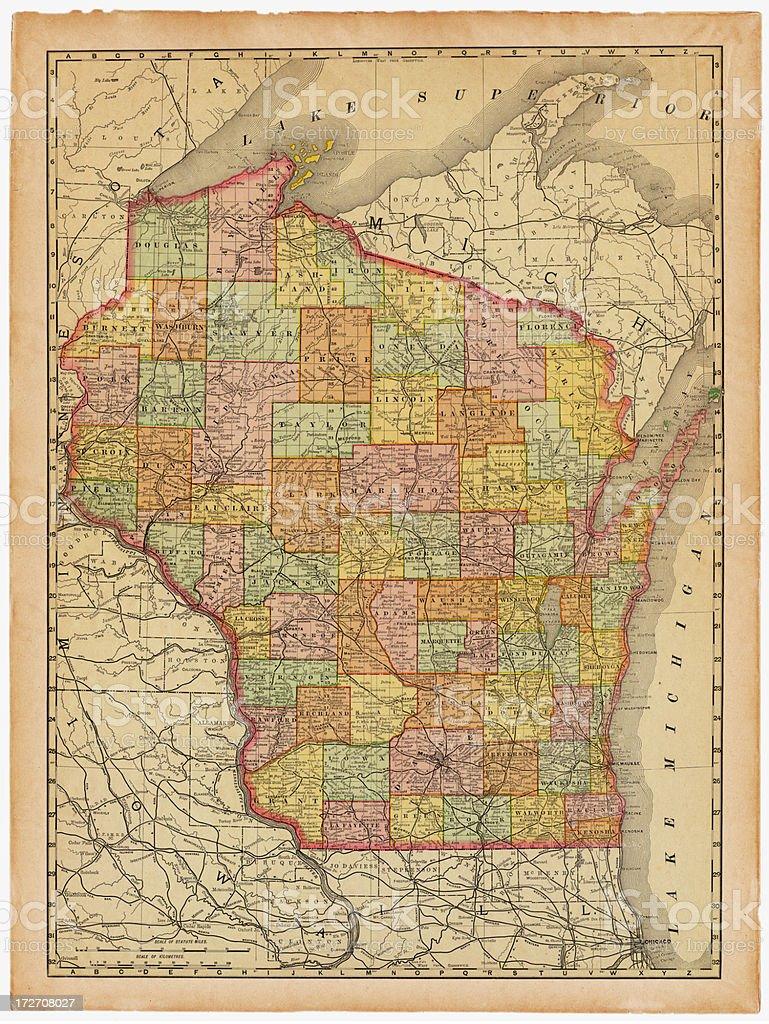 Wisconsin Old Map vector art illustration