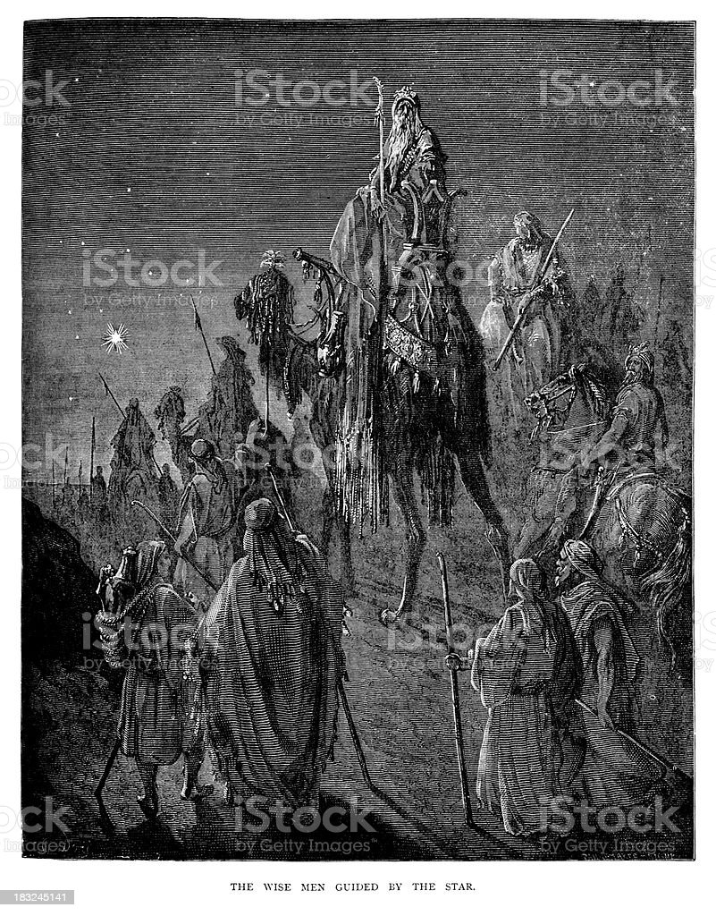 Wise men guided by the Star royalty-free stock vector art