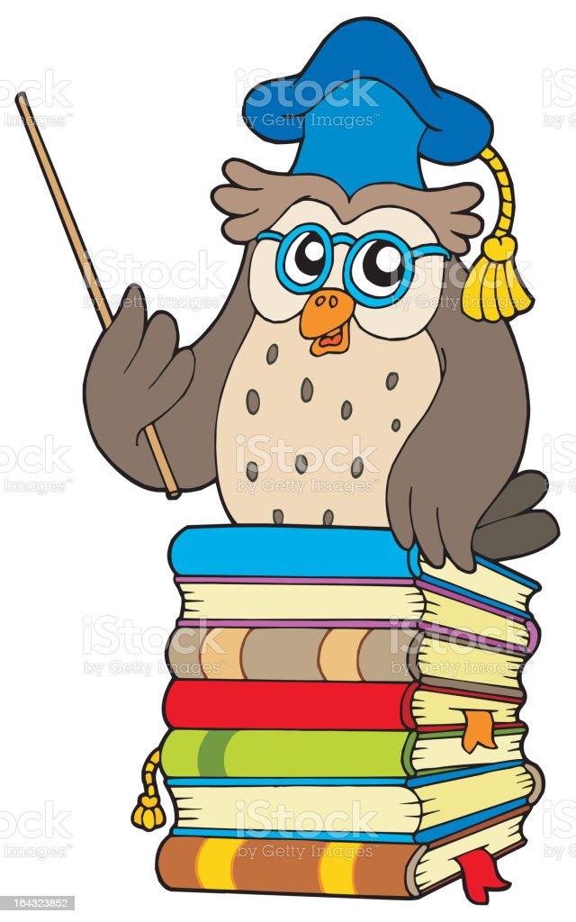Wise owl teacher on books royalty-free stock vector art
