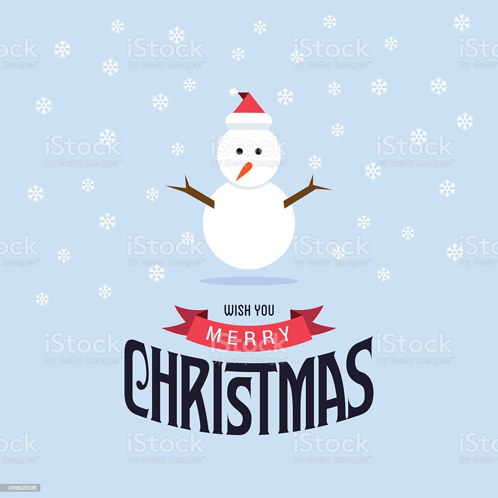 Wish you Merry Christmas Snowman greets you vector art illustration