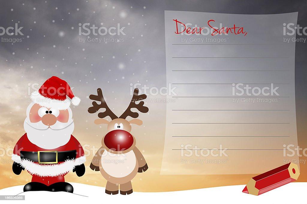 wishlist for Christmas royalty-free stock vector art