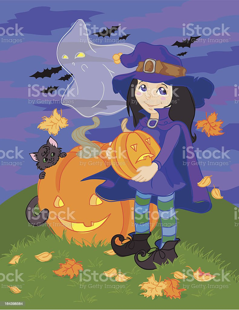Witch, cat, ghost and pumpkins royalty-free stock vector art