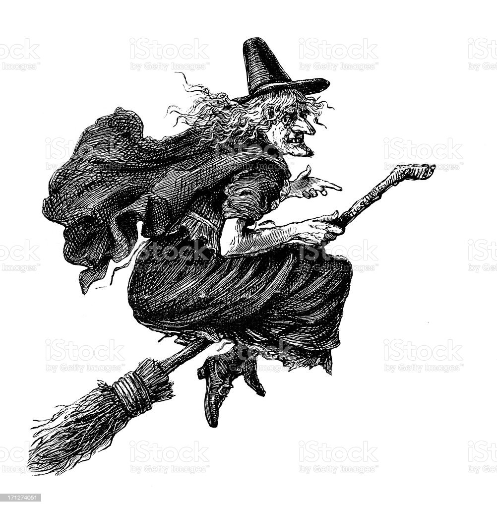 Witch on a broomstick from 1883 journal vector art illustration