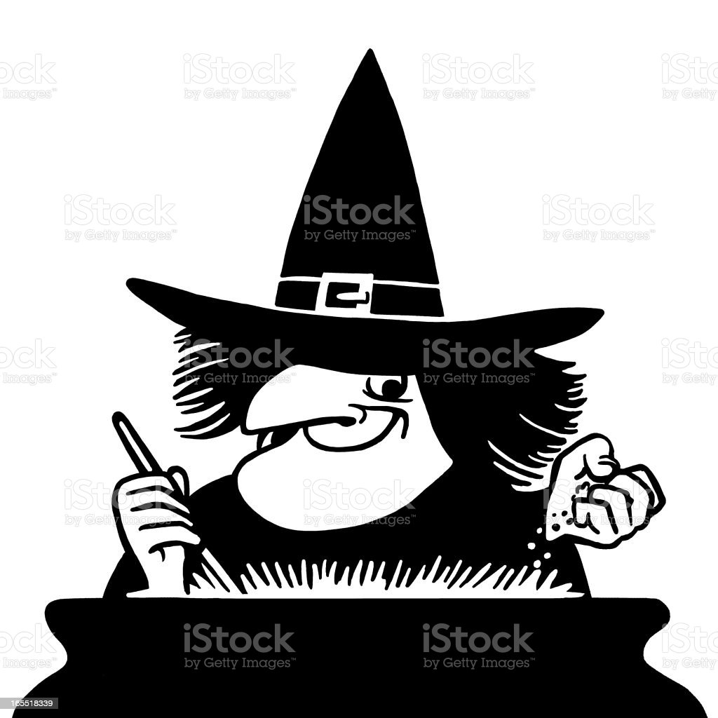 Witch Stirring a Potion royalty-free stock vector art