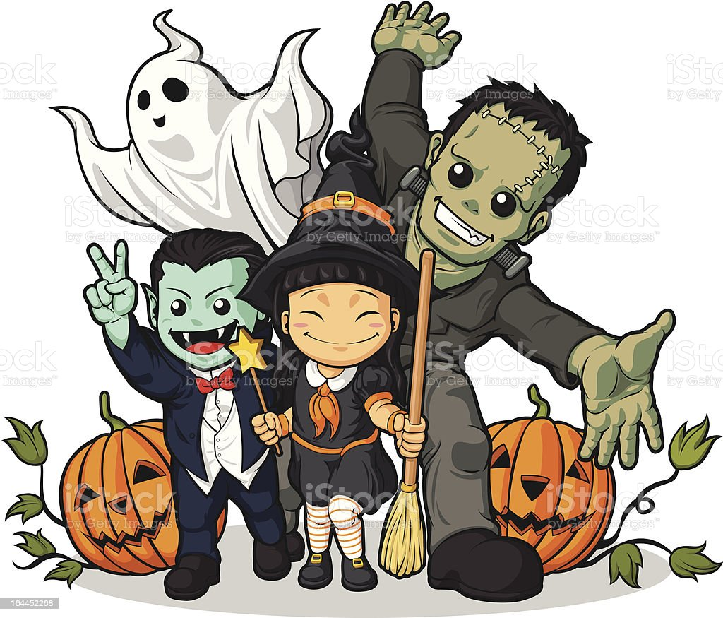 Witch, Vampire, Frankenstein, Ghost & Pumpkin Greeting Halloween vector art illustration