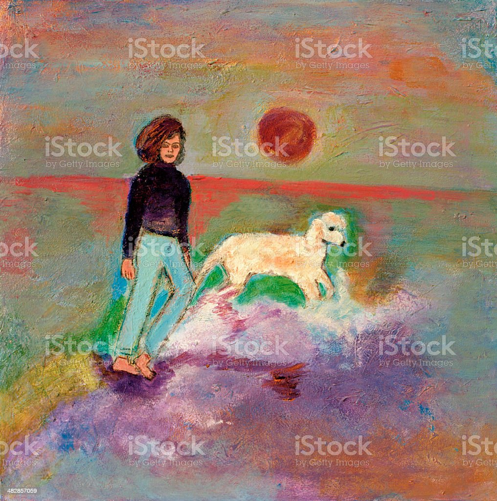 With Dog on Beach royalty-free stock vector art