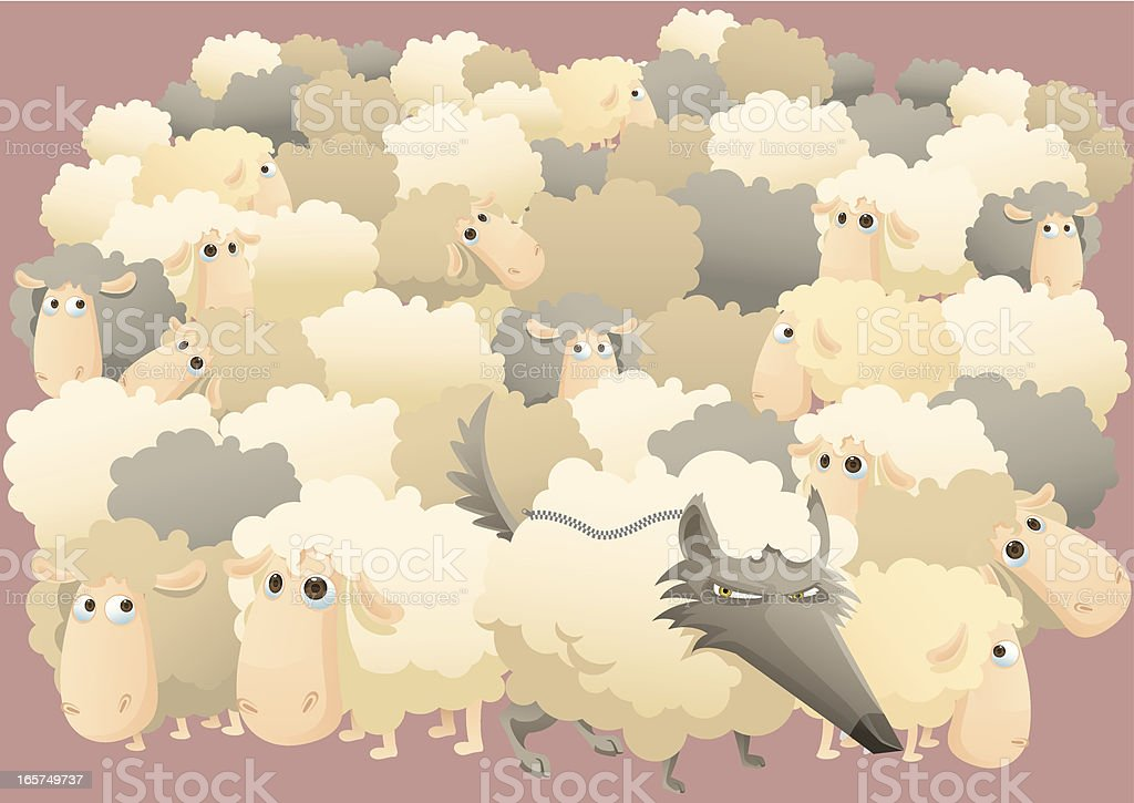 Wolf and Lot of sheeps vector art illustration