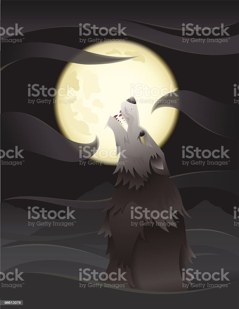 Wolf howling at the moon royalty-free stock vector art