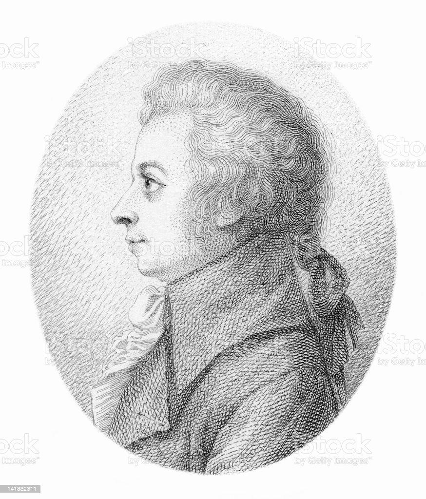 Wolfgang Amadeus Mozart - Antique Engraved Portrait vector art illustration