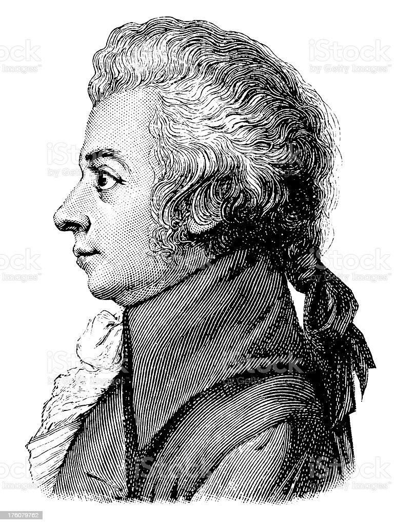 Wolfgang Amadeus Mozart   Antique Portrait Gallery vector art illustration