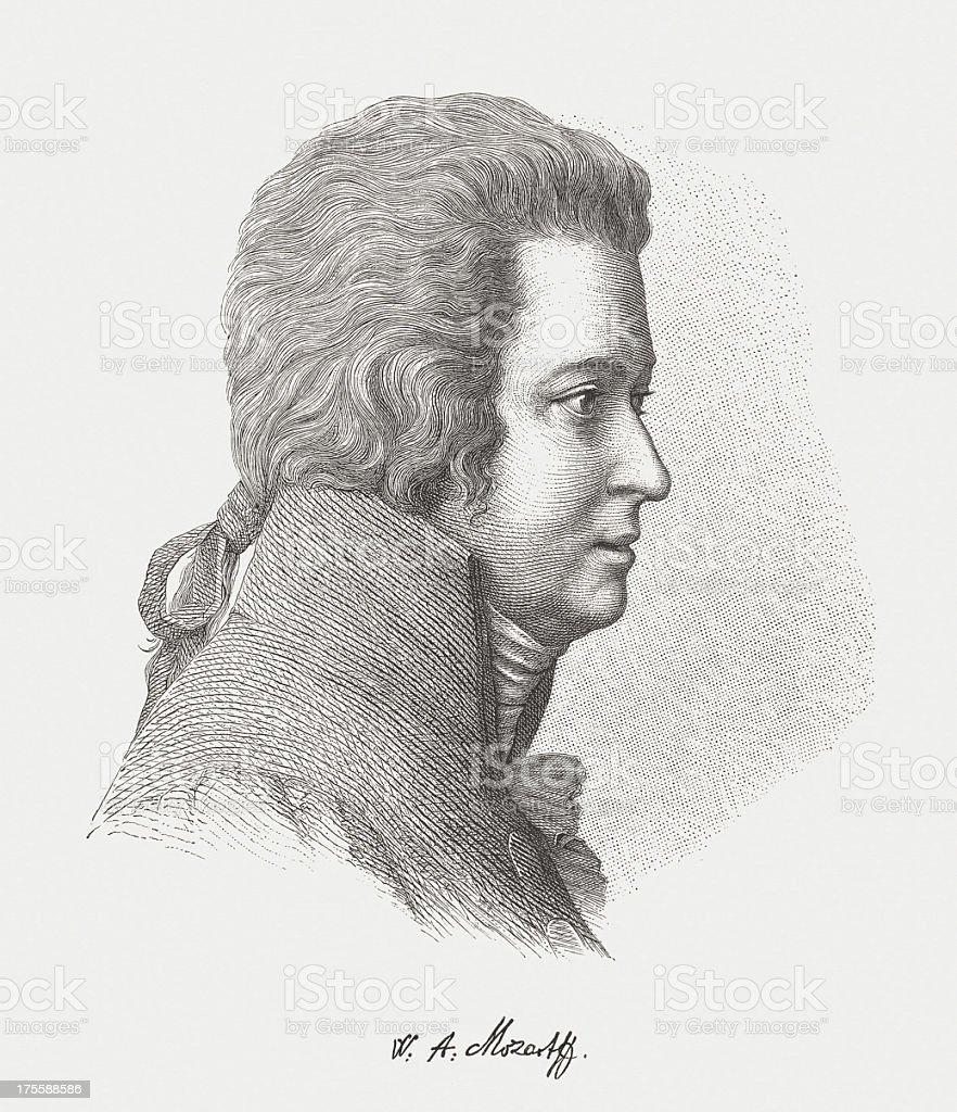 Wolfgang Amadeus Mozart (1756-1791), Austrian composer, wood engraving, published 1882 vector art illustration