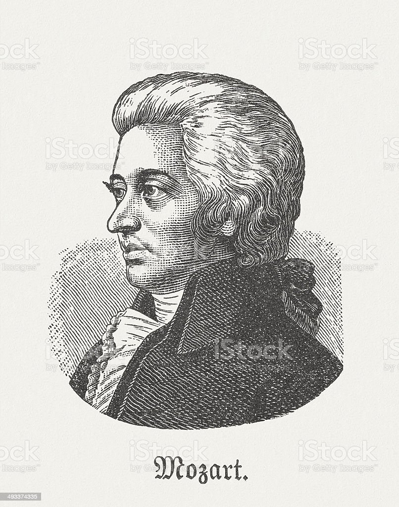 Wolfgang Amadeus Mozart (1756-1791), Austrian composer, wood engraving, published 1881 vector art illustration