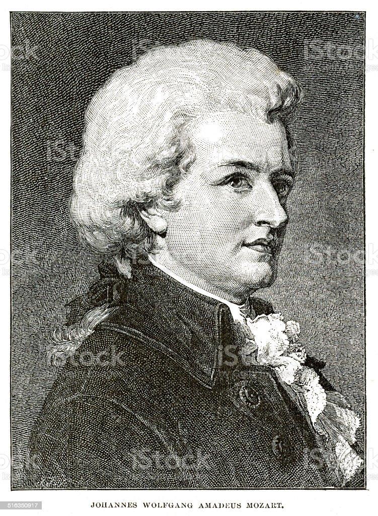 Wolfgang Amadeus Mozart engraving vector art illustration