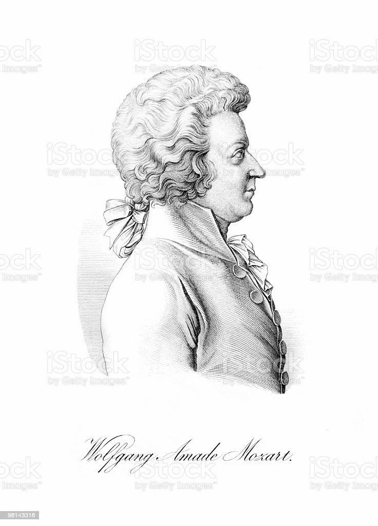 Wolfgang Amadeus Mozart in Profile vector art illustration